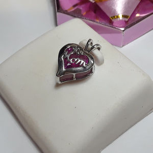 Jewelry - 1.5ct Heart Cut Pink CZ Mom 10Kt Pendant #12278